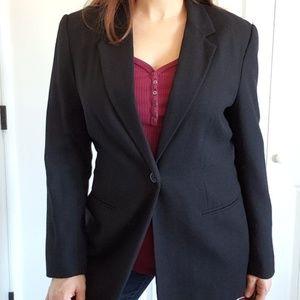 Vintage Wool Black One Button Blazer Jacket 12